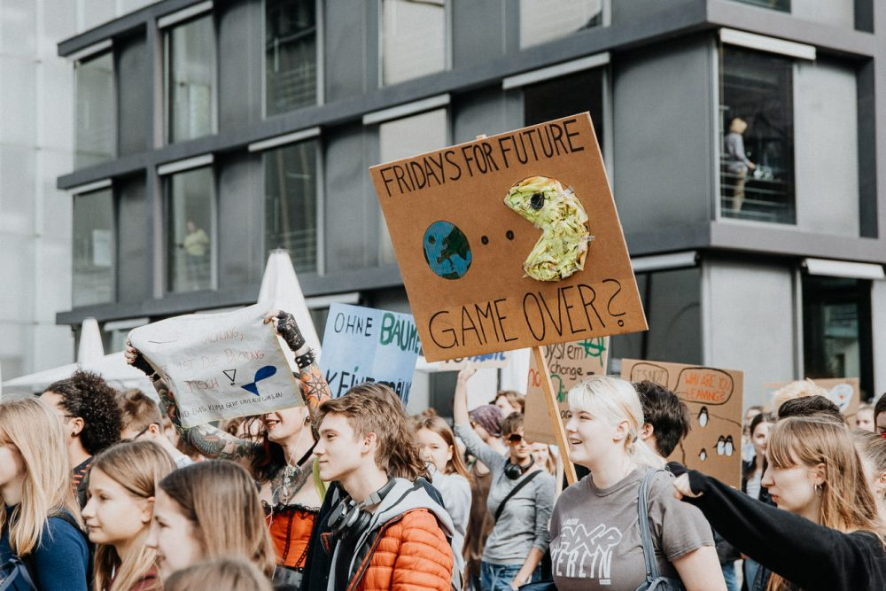 Demonstranten Plakate Schilder Klimastreik